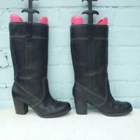 Timberland Leather Boots Size UK 6.5 Eur 39.5 Womens Shoes Pull on Black Boots