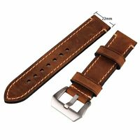 Men's Genuine Leather Watch Strap Band Stainless Steel Buckle 22mm Brown