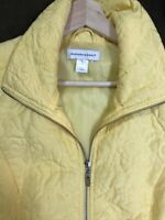 Christopher & Banks Medium Vest Sunshine Yellow Lightly Quilted Zip Up Pretty!