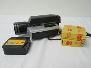 Vintage Kodak XL 362 Super 8 Movie Camera w/ 2 cartridges film!! EKTAR Zoom Lens