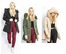 New Women's Ladies Long Line Hooded Faux Fur Parka Jacket Coat - UK Size 8-14