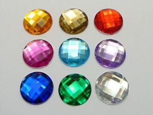 50 Acrylic Flatback Rhinestone Round Gem Beads NO HOLE 18mm Colour for Choice