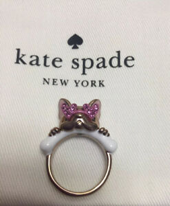 Kate Spade Francois French Bulldog Rose Gold Tone Ring Size 8 w KS Dust Bag New