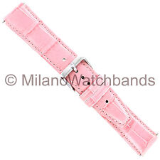 18mm Pink Linea Alligator Grain Padded Stitched Genuine Leather Watch Strap