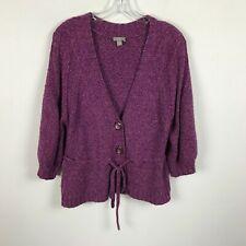 J. Jill Cardigan Sweater Size M Purple Flecked Pink 3/4 Sleeve Tie Front Womens