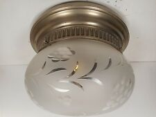 ANTIQUE NICKLE FINISH FLUSH MOUNT CEILING LIGHT FIXTURE W/ CUT GLASS SHADE