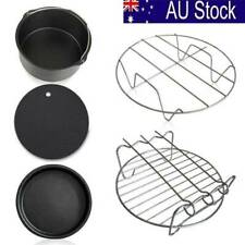 5Pc/Set Air Fryer Frying Cage Dish Baking Pan Rack Pizza Tray Pot Accessories AU
