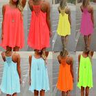 ♥Chiffonkleid♥Sommerkleid♥Strandkleid♥Partykleid♥Minikleid♥Damen Ärmellos Kleid♥