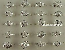 New!!wholesale 10pcs mixed S80 silver flower rings 6-8