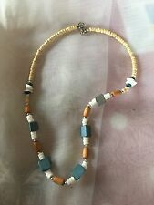 """Hand Made Beaded Necklace Beige Blue & White Wood & Ceramic Beads 16"""" Fixed ...."""