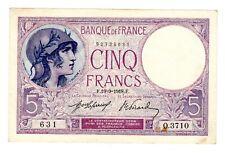 FRANCE Billet 5 FRANCS19/9/ 1918 VIOLET 631 O.3710  TTB // SUP