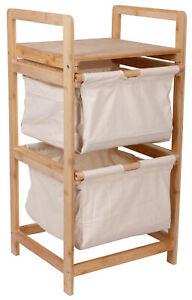 Wäschesammler Bambus Wäschekorb Leinen Badschrank Schränkchen Badezimmer Wäsche