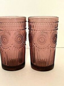 The Pioneer Woman Adeline Drinking 16-oz Embossed Glass Tumblers, Plum, Set (2)