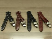 18 20 22 24MM Black Brown Alligator Leather Strap Band Deployment Buckle Clasp