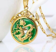 "24K Gold Plated Dragon Pendant Malaysia Jade Jewelry Chain Necklace 7/8"" New"
