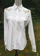 Ralph Lauren Black Label White Embroidered Western Rockabilly Pearl Snap Size 10