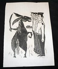 '52 Uruguay Block Print The World Upside Down Antonio Frasconi (1919-2013)(Mod)