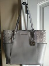 Michael Kors Jet Travel Large Leather and Suede Tote Shoulder Bag - Pearl Grey