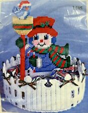 NEW 2002 Design Works Plastic Canvas Kit Snowman Candy Dish Figural Holiday 9006