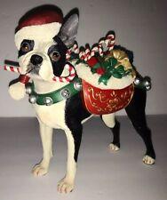 Danbury Mint Christmas Santa Boston Terrier Dog Large Sculpture Figurine