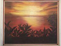 Vintage original framed signed oil painting striking seascape landscape