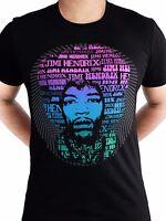 Jimi Hendrix Afro Speech Rock Music Electric Ladyland Black Mens T-shirt