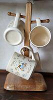 International China Heartland Coffee Cup Mug set of4 w Wooden Stand Vintage 7774
