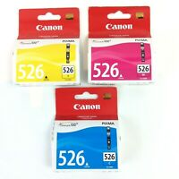 CANON 526 Pixma CLI-526 GENUINE Ink Choice Of Yellow, Magenta, Cyan