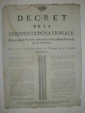 PLACARD DE LA REVOLUTION - DECRET DE LA CONVENTION NATIONALE REQUISITION 1794