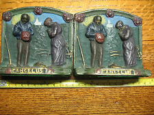 ANTIQUE PRAYERBOOK ENDS  ANGELUS  FARMERS  IN  PRAYER  POTATO  FAMINE 1920's