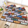 Retro License Plate Design Area Rugs Kids Bedroom Carpet Living Room Floor Mat
