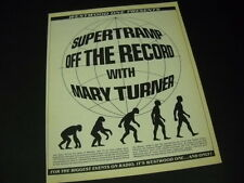SUPERTRAMP Off Record with MARY TURNER 1985 Promo Poster Ad mint condition