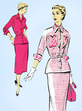 1940s Vintage New York Sewing Pattern 1130 Uncut Misses Two Piece Dress Sz 30 B