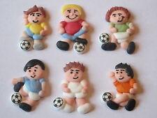 6 SUGAR FOOTBALL PLAYERS CUPCAKE TOPPER, CAKE DECORATIONS