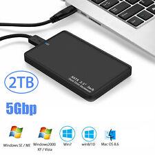 """5Gbp External Backup Hard Disk Drives 2TB Enclosure 2.5"""" Portable HDD SATA SSD"""