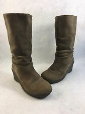 KEEN Akita Brown Slate Tall Leather Suede Wedge Fashion Boots Women 7.5