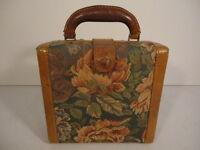 Women Hard Cased Floral Upholstered Cosmetic Handbag Shoulder Bag Purse