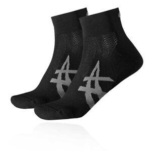 Asics Mens 2ppk Cushioning Sock - Black Sports Running Breathable Lightweight