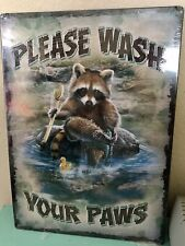 "Tin Sign ""Racoon Wash Your Paws"" New $7.95 Plus Shipping"