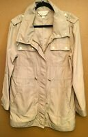 Michael Kors Utility Jacket Beige/Tan Gold Buttons Large Sleeves cinch up