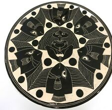 "1991 Curras 17"" Plate Ceramic Glaze Black and White Handmade & Painted  Pottery"