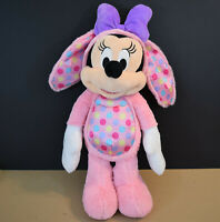 """18"""" Disney Minnie Mouse in Pink PJ's with Easter Bunny Ears Plush Stuffed Animal"""