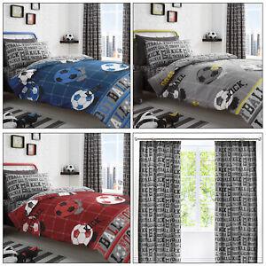 FOOTBALL Sports Goal Soccer Ball Reversible Kids Duvet Quilt Cover Set Bedding
