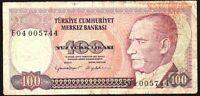 1984 Turkey 100 Lira Banknote * F04 005744 * POOR * P-194