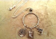 TREE OF LIFE CROSS PHOTO LOCKET with ohm CIRCLE, STERLING SILVER CHAIN NECKLACE
