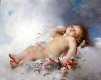 Wonderful Oil painting little angel boy sleeping on cloud with roses flowers