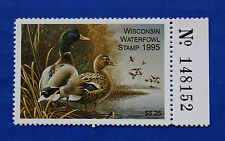 U.S. (WI18R) 1995 Wisconsin State Duck Stamp with right serial # tab (MNH)