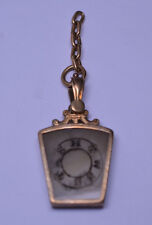 ANTIQUE 10K GOLD AGATE MASONIC HTWSSTKS WATCH FOB CHARM ON 5-LINK CHAIN