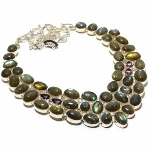 "Labradorite, Amethyst Gemstone 925 Sterling Silver Necklace 16-17.99"" N-11589_R"