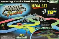 360 Pieces Magic Tracks Glow in the Dark 3 LED Lights up Race Car Bend Flex 18Ft